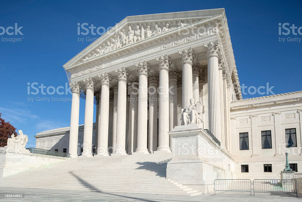 U.S. Supreme Court Catching the Sunshine under Blue Sky royalty-free stock photo