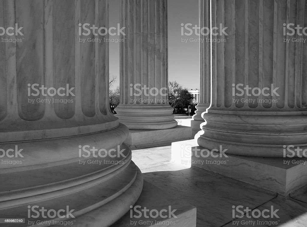 Supreme Court Columns Black and White stock photo