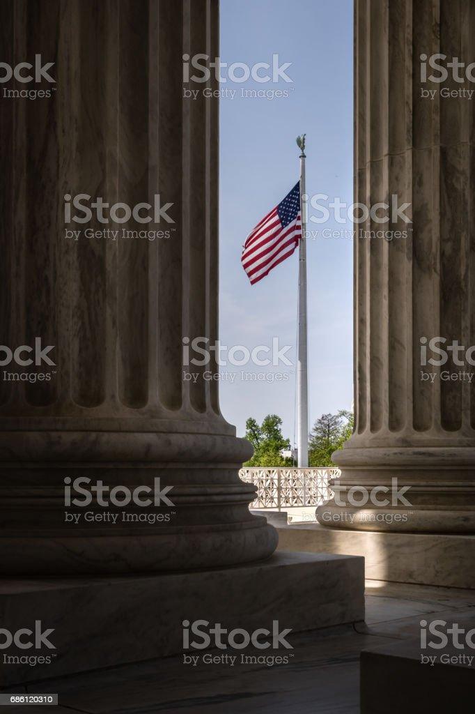 US Supreme Court Columns in Washington DC stock photo