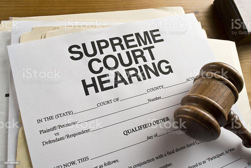 Supreme Court Hearing Paperwork royalty-free stock photo
