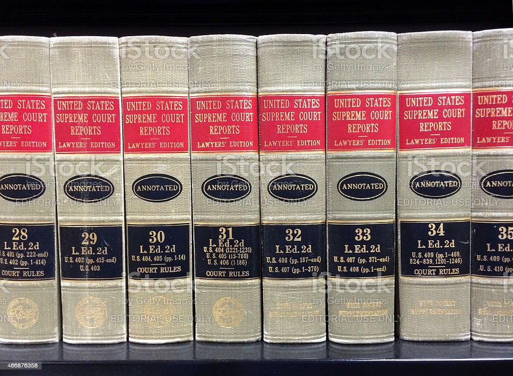 Supreme Court Legal Books on Shelf in Library stock photo