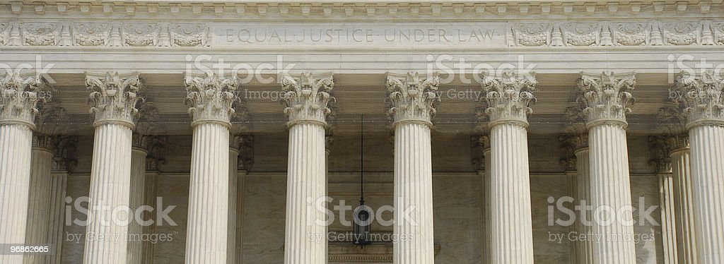 Supreme Court panoramic with text Equal Justice Under Law stock photo