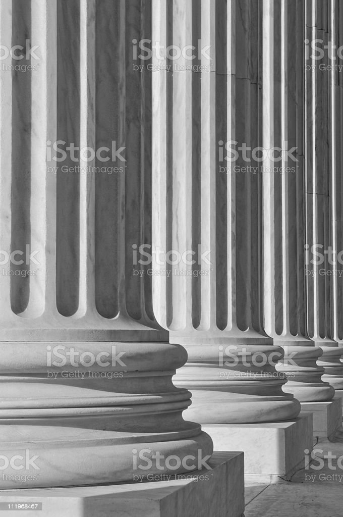 US Supreme Court pillars showing law and justice stock photo