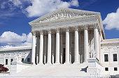 US Supreme Court, Washington DC. Blue sky, clouds.