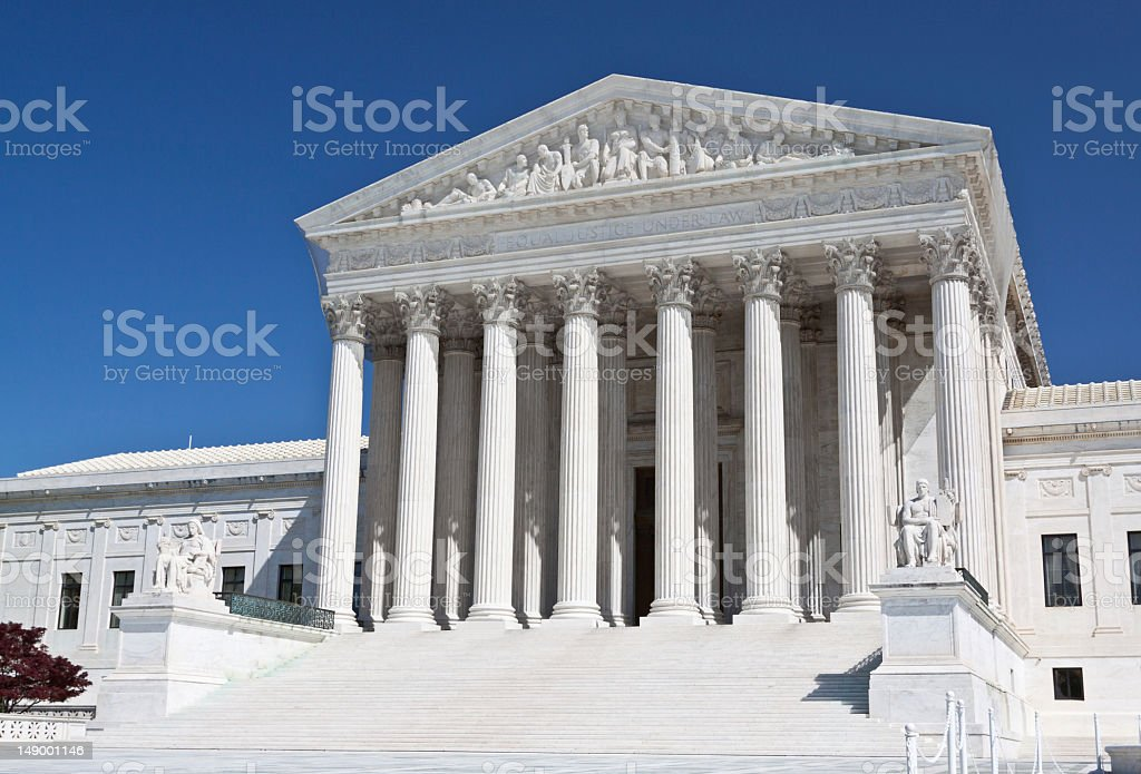 US Supreme Court, Washington DC. Clear blue sky. royalty-free stock photo
