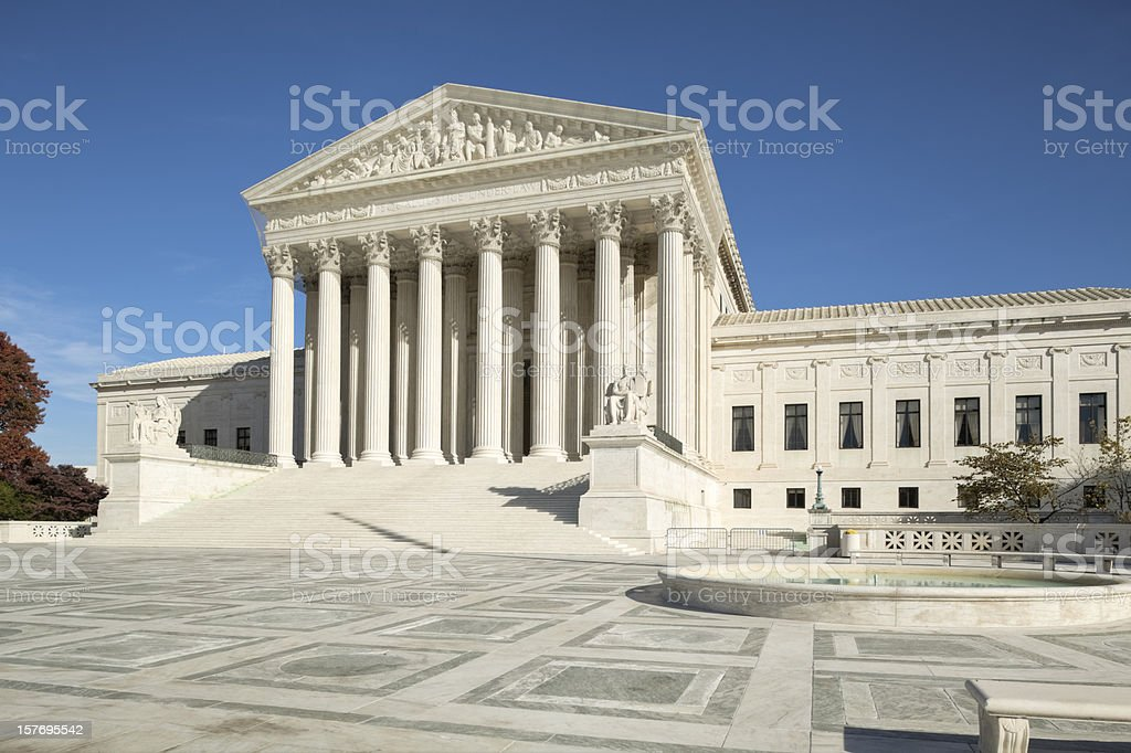 U.S. Supreme Court With Ornate Brickwork and Fountain royalty-free stock photo