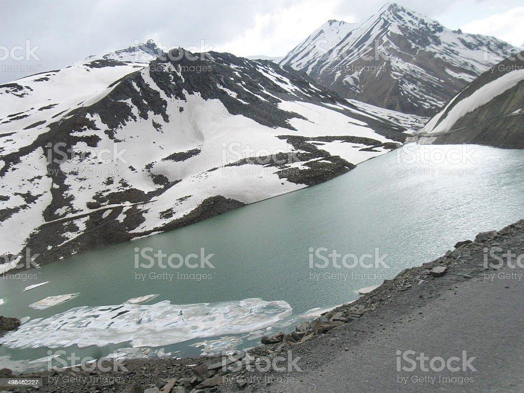 Suraj Lake on Leh-Ladakh Highway stock photo