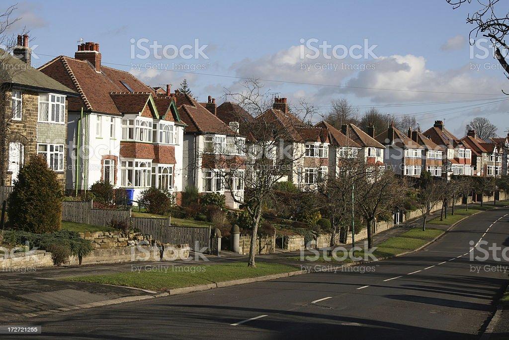 surburban sheffield, Semi detached houses lining street stock photo