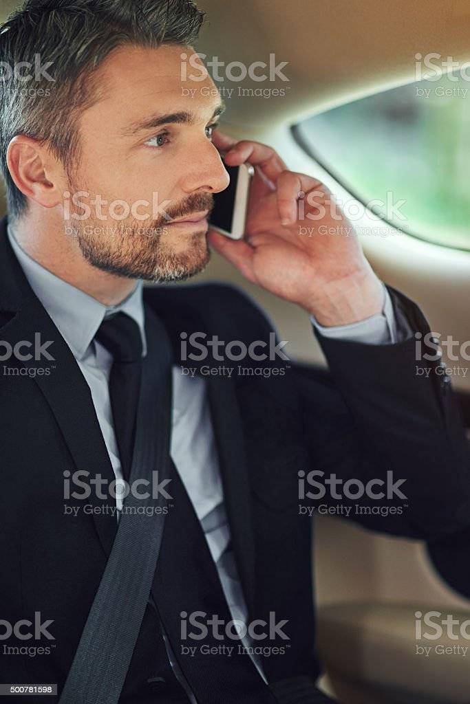 Sure, I should be at the office any minute now stock photo