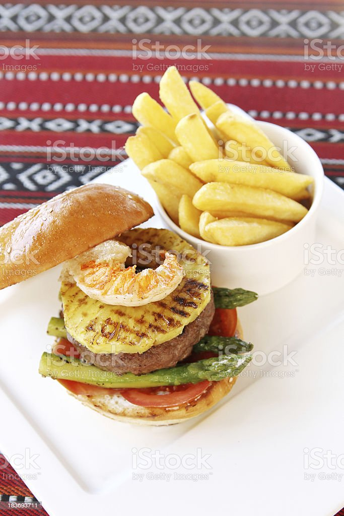 surf and turf burger royalty-free stock photo