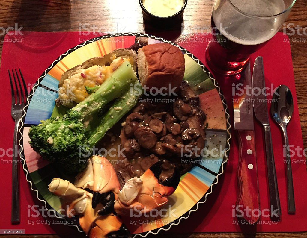 Surf and Turf Dinner stock photo