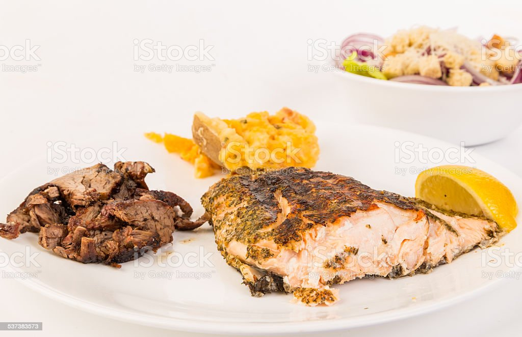 Surf and Turf Meal stock photo