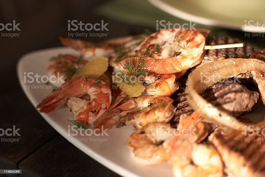 BBQ Surf and Turf royalty-free stock photo