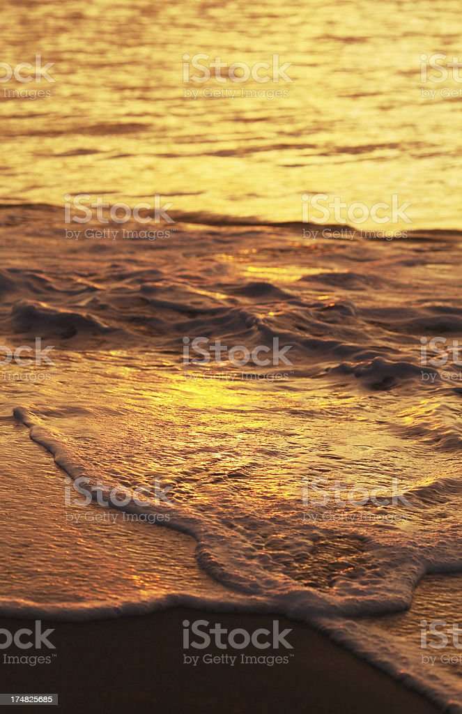 Surf at Beach during Sunset royalty-free stock photo