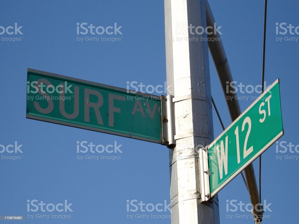 NYC - Surf Ave & W 12th Street Signs stock photo