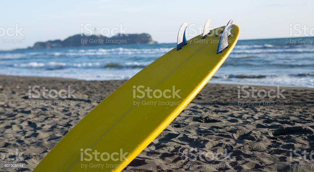 Surf board at Shonan beach stock photo