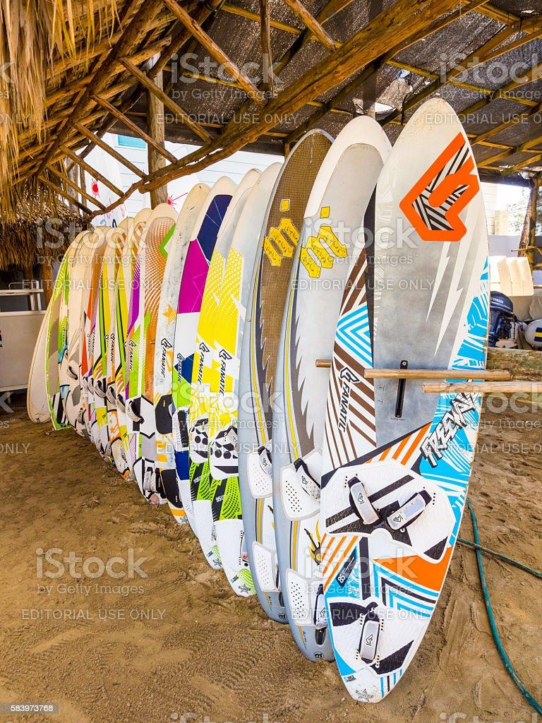 Surf Boards in Sosua stock photo