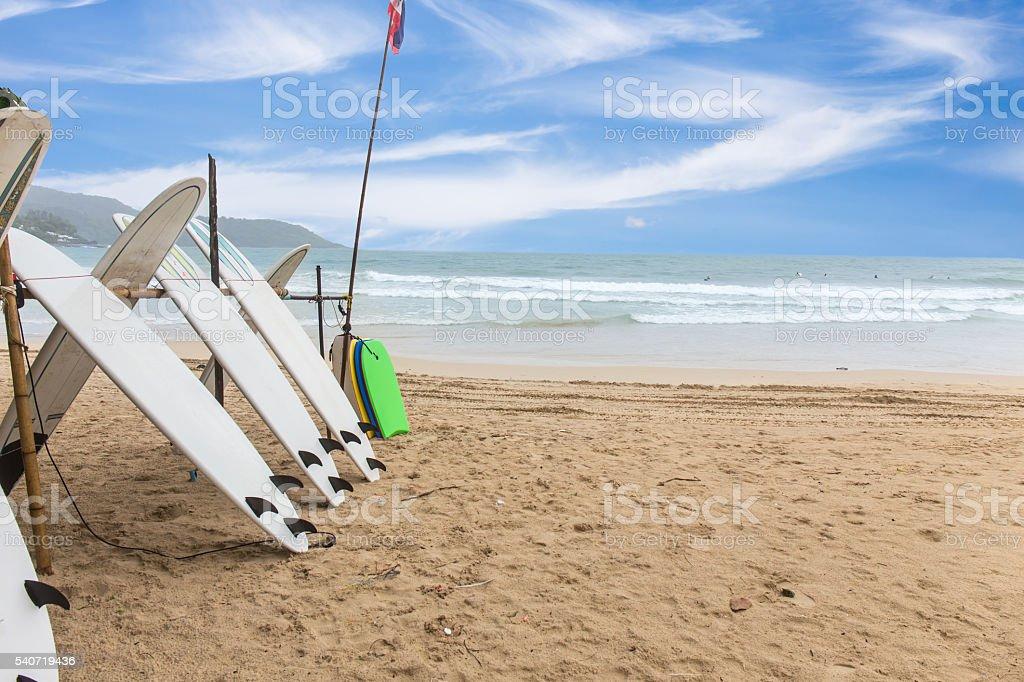Surf Boards on sand beach at kata beach Phuket, Thailand stock photo