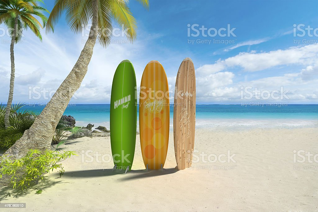 Surf boards on the beach stock photo