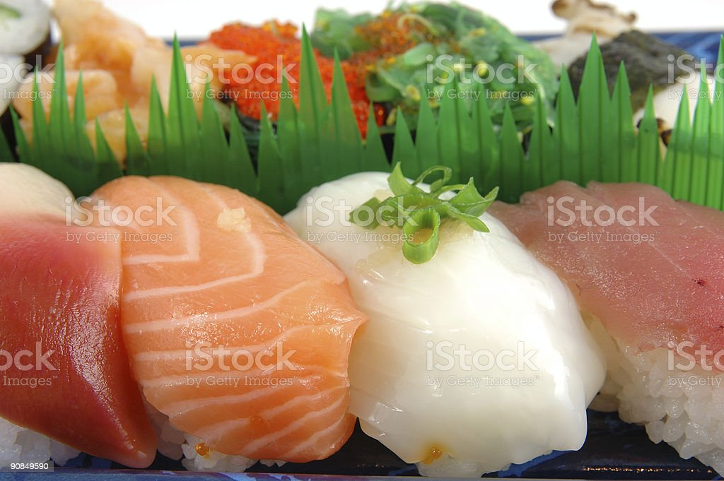Surf clam, salmon, squid and tuna sushi royalty-free stock photo