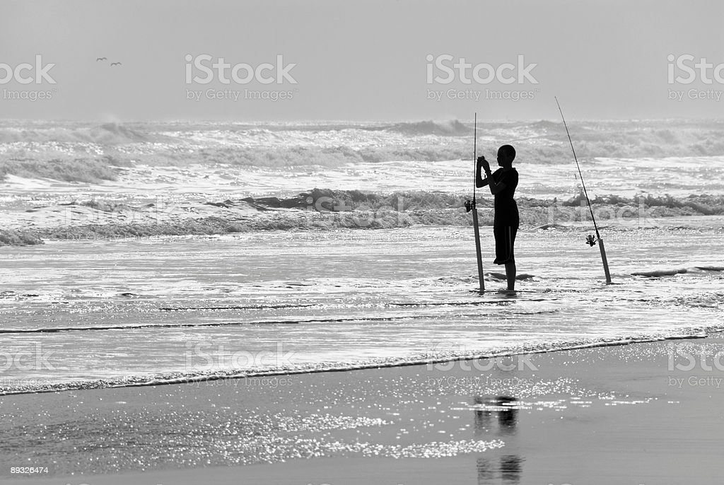 Surf fisherman royalty-free stock photo