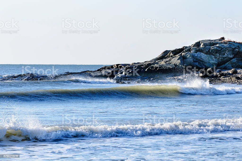 Surf in Buzzards Bay stock photo
