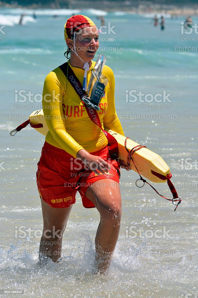 Surf lifesaver at Bondi Beach. stock photo