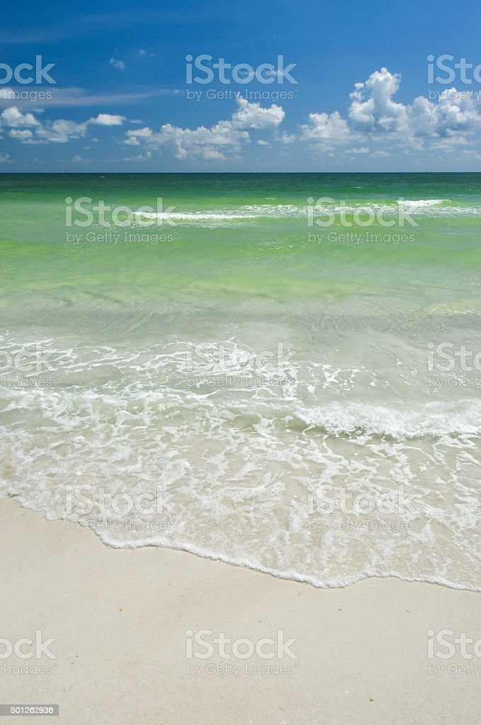Surf on White Sand Beach stock photo