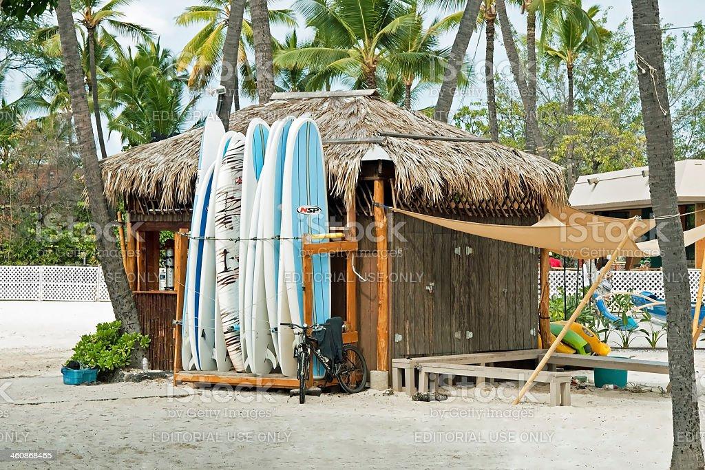 Surf rental shop on Kona beach Hawaii Big Island royalty-free stock photo