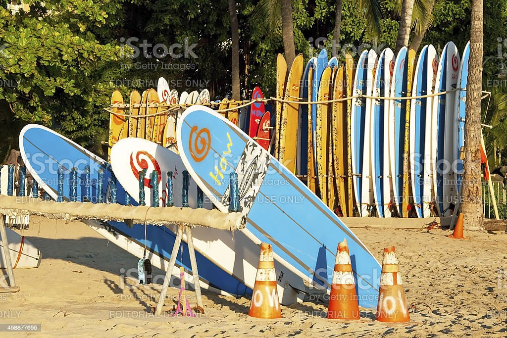 Surf rental shop on Waikiki beach Hawaii royalty-free stock photo