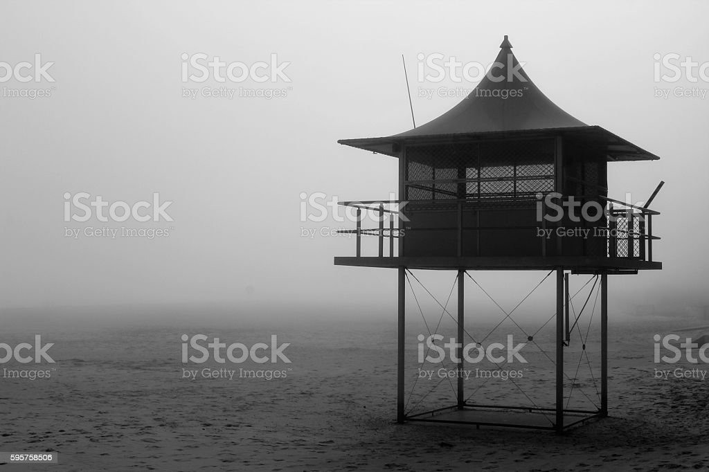 Surf rescue watch tower in the Genelg Beach stock photo