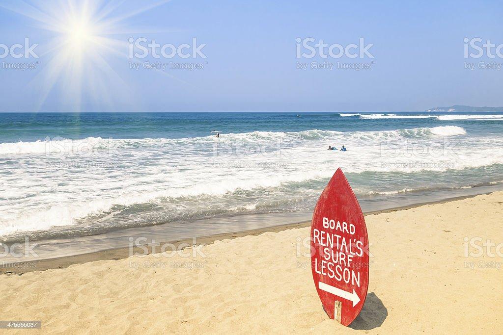 Surf School at a tropical Beach stock photo