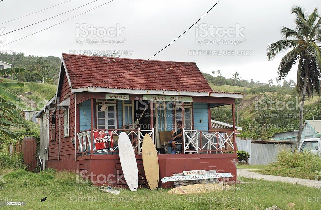 Surf shack at Bathsheba Barbados stock photo