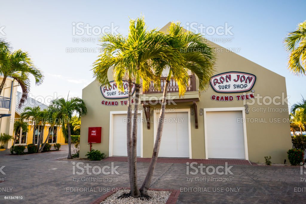 Surf shop in Cruise ship center of Grand Turk, Turks and Caicos Islands stock photo
