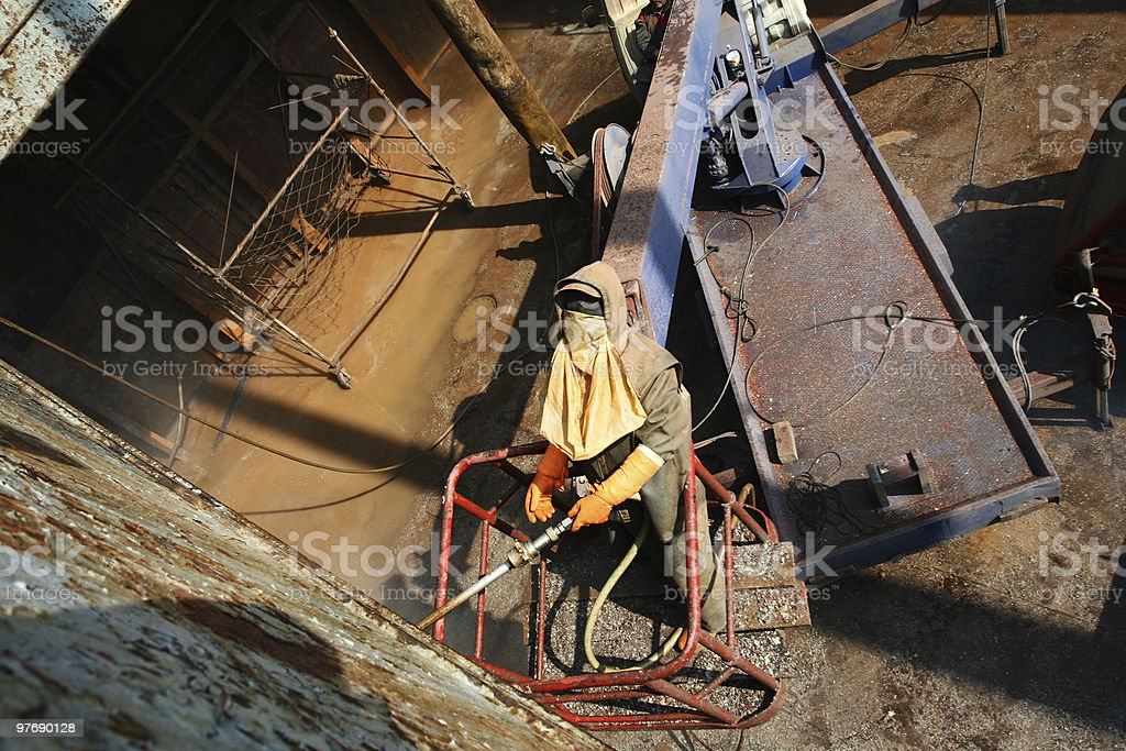 surface cleaning with high pressure water royalty-free stock photo