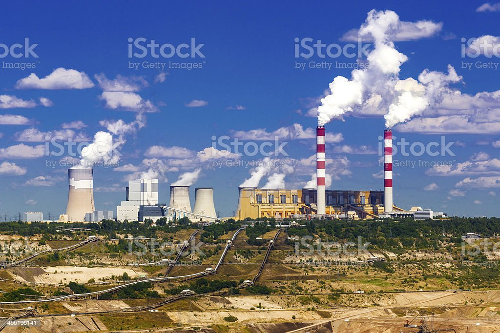 Surface coal mining and power station stock photo