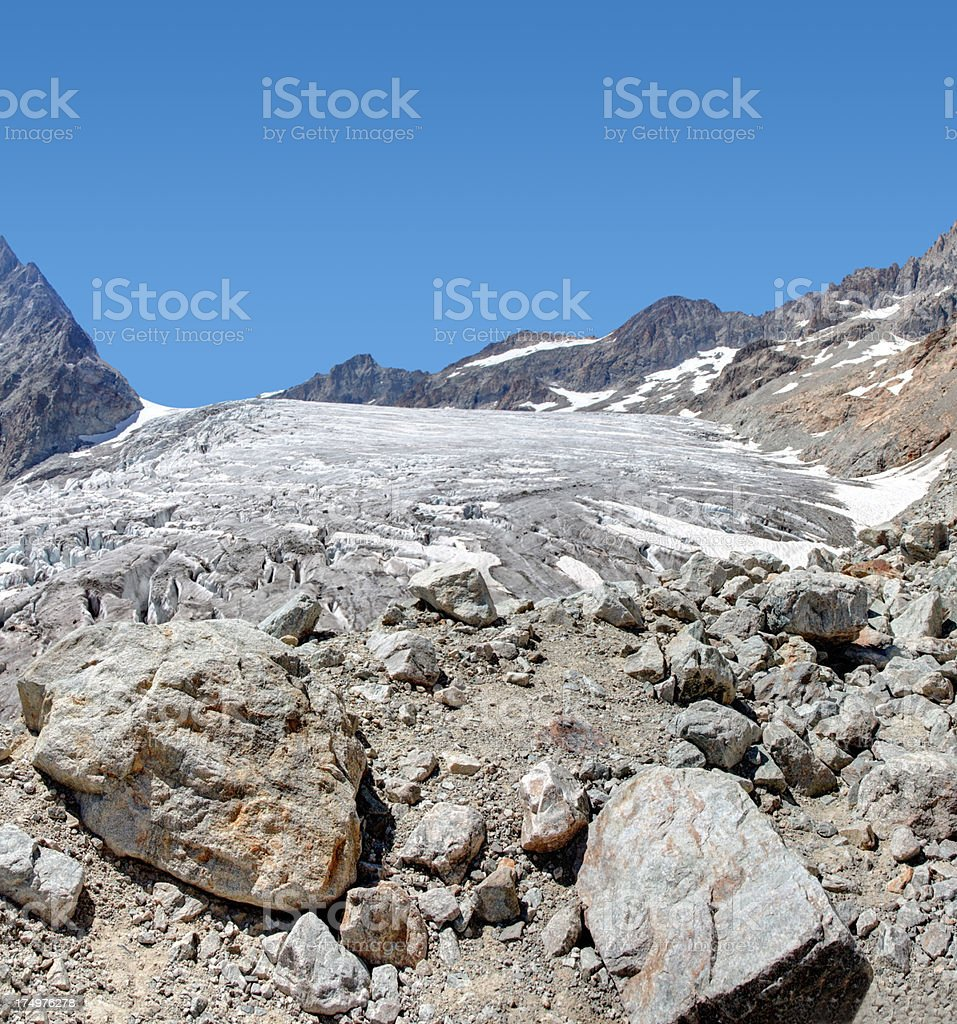 surface of a glacier in summer royalty-free stock photo