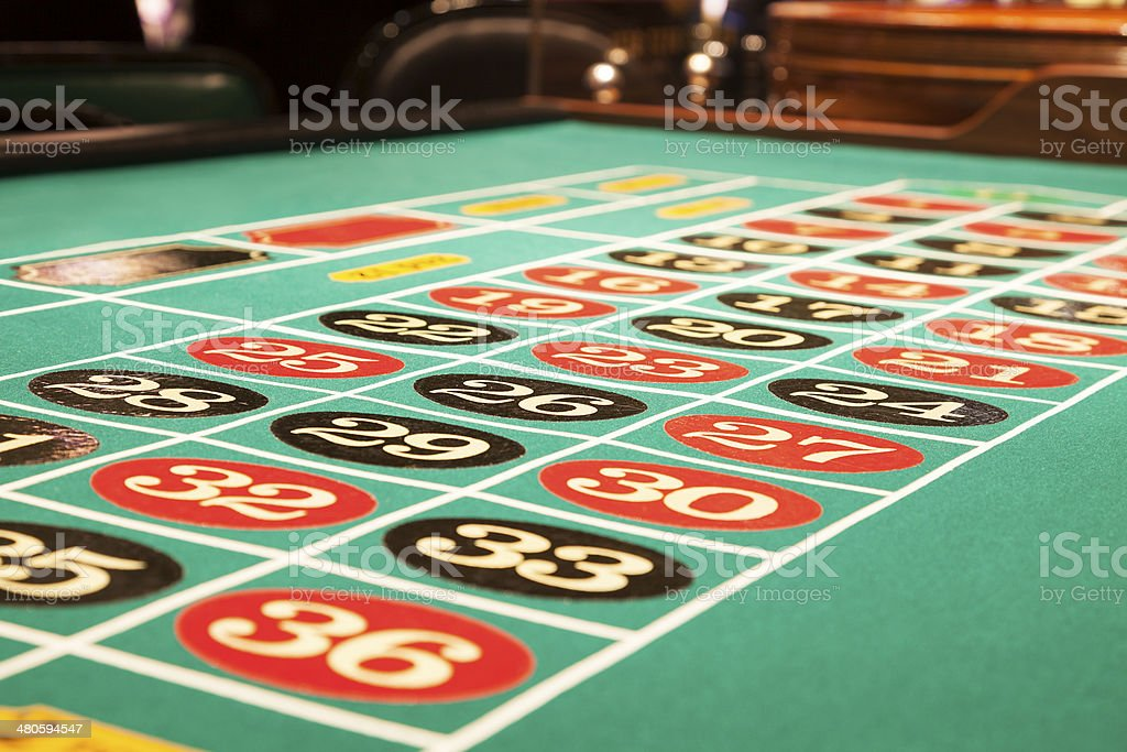 Surface of a roulette table inside the casino stock photo