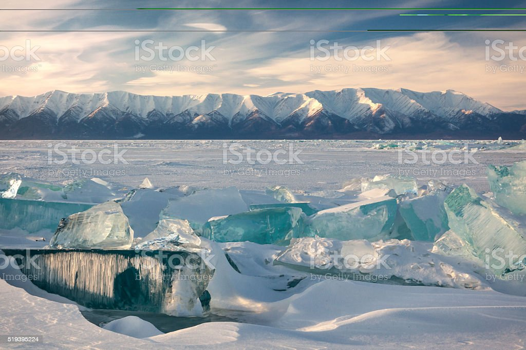 Surface of Baikal Lake in winter stock photo