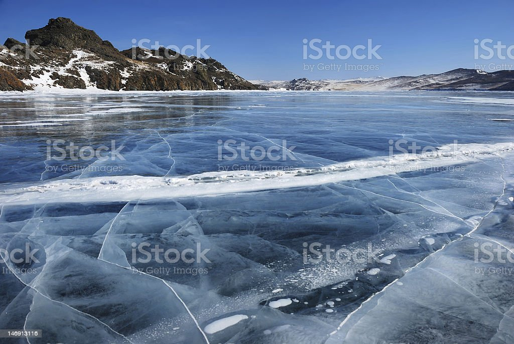Surface of frozen lake stock photo