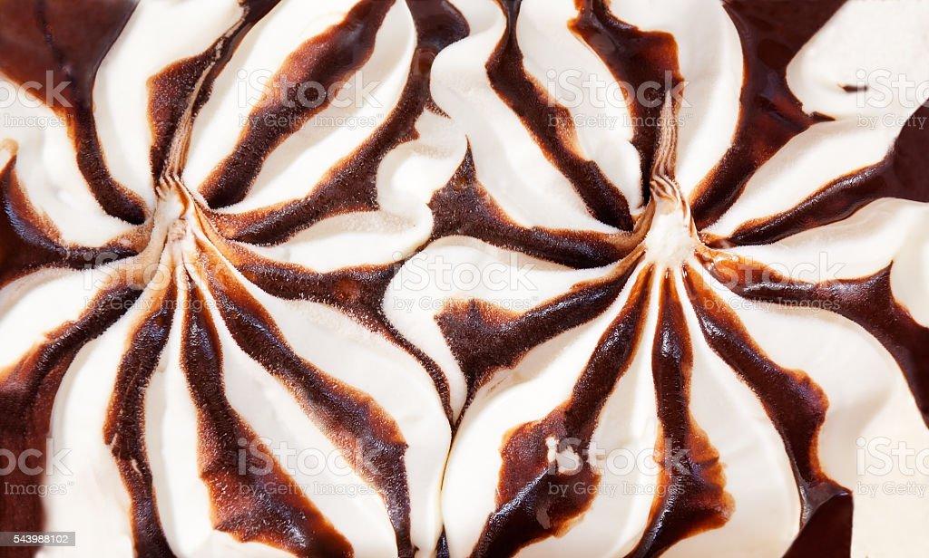 Surface of vanilla ice cream with chocolate sauce stock photo