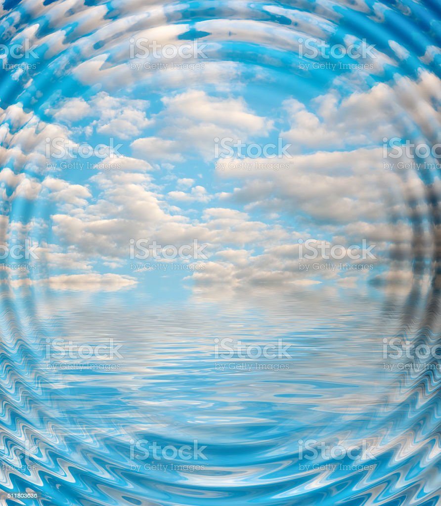 Surface Rippled of water with clouds and sky background stock photo