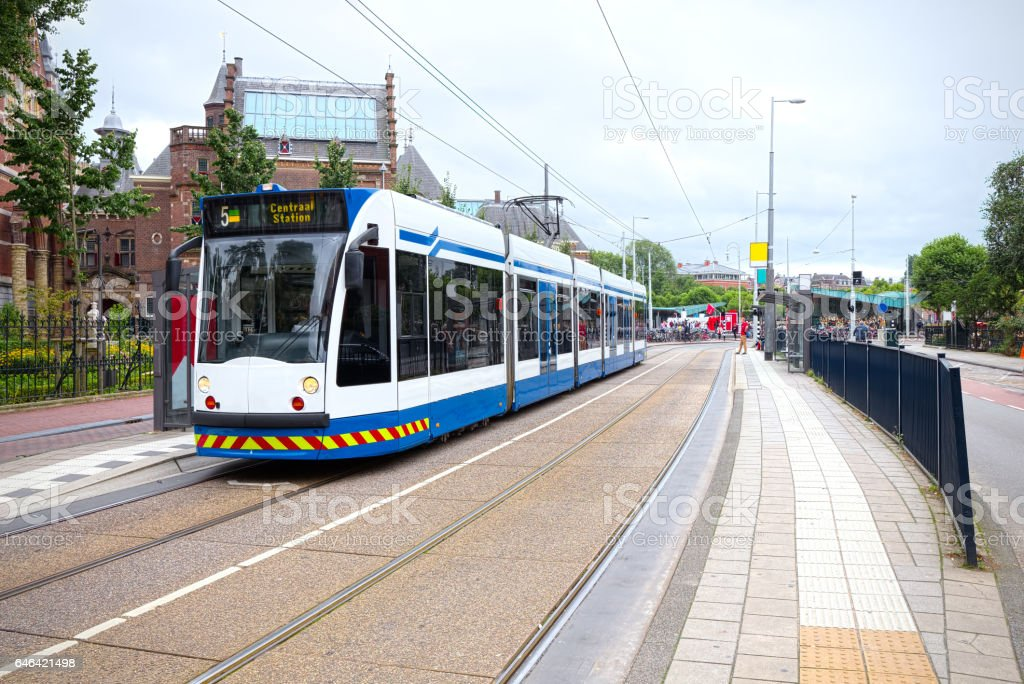 Surface tramway in Amsterdam, Netherlands stock photo