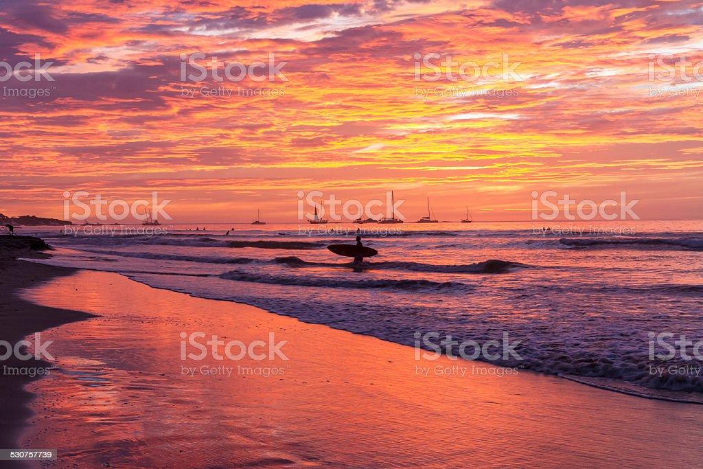 Surfboard Sunset Silhouette stock photo