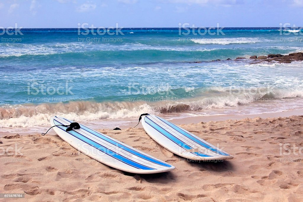 Surfboards at beach stock photo