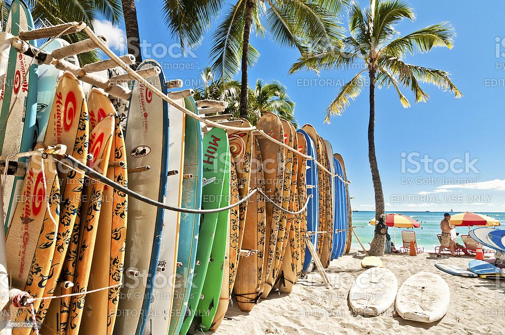 Surfboards at Waikiki Beach, Hawaii stock photo