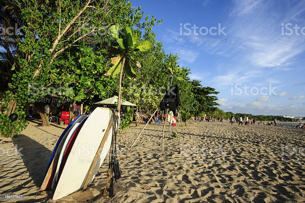 Surfboards on beach stock photo