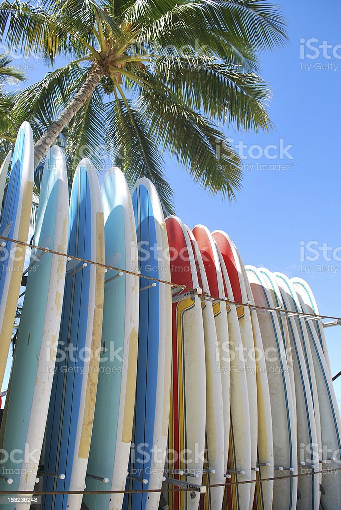 Surfboards on Waikiki Beach, Hawaii. royalty-free stock photo