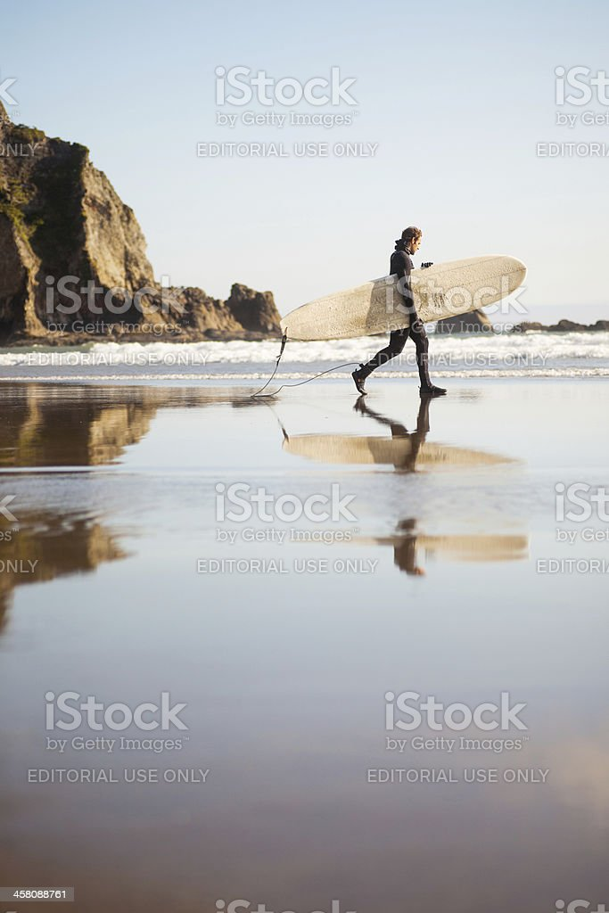 Surfer at Oswald West State Park royalty-free stock photo
