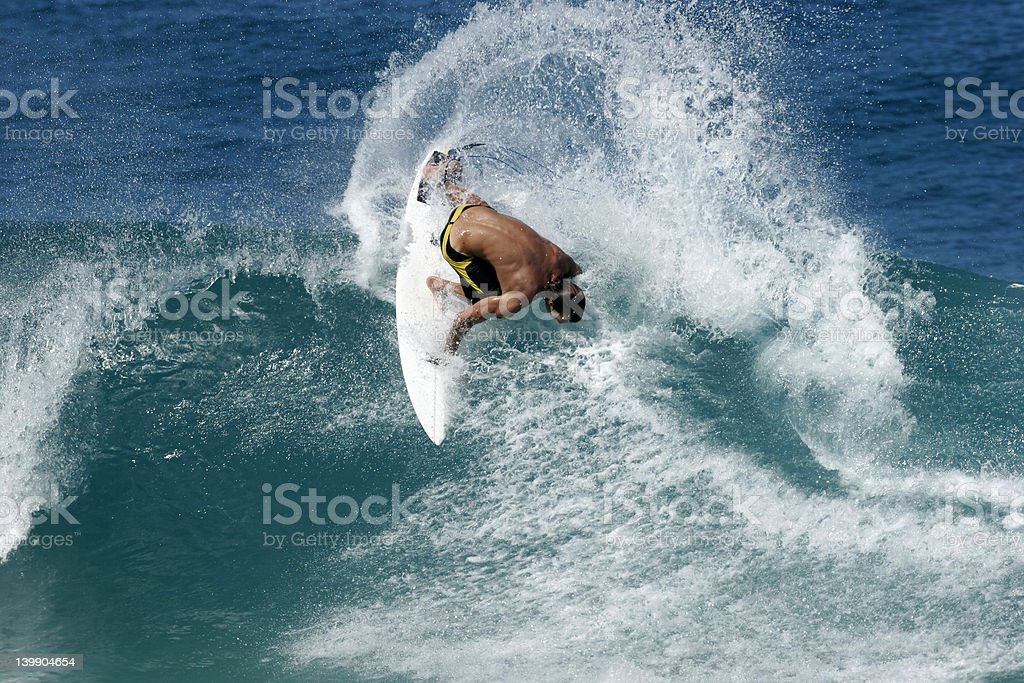 Surfer blasts the lip royalty-free stock photo